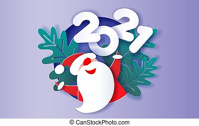 Modern paper cut circle banner with Santa Claus and new year 2021