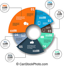 Modern paper infographics in a pie chart for web, banners, ...