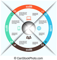 Modern paper infographics in a pie chart for web, banners, mobile applications, layouts etc. Vector eps10 illustration