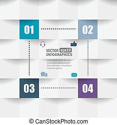 modern, papier, infographics