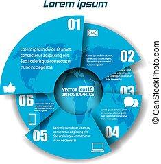 modern, papier, infographics, in, a, kreisdiagramm