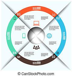 modern, papier, infographics, in, a, kreisdiagramm, für, web, banner, beweglich, anwendungen, anordnungen, usw., vektor, eps10, abbildung