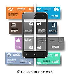 modern, papier, infographics, in, wohnung, design, für, web, banner, beweglich, anwendungen, anordnungen, usw., vektor, eps10, abbildung
