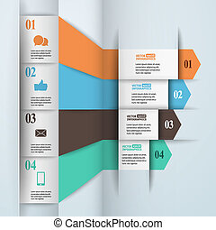 modern, papier, infographics, in, wohnung, design, mit, poppig, farben, für, web, banner, beweglich, anwendungen, anordnungen, usw., vektor, eps10, abbildung