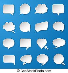 modern, papier, sprechblasen, satz, auf, blauer hintergrund, für, web, banner, anordnungen, beweglich, anwendungen, usw., vektor, eps10, abbildung