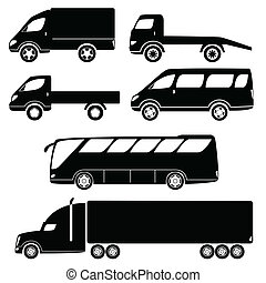 Modern passenger and freight cars silhouettes - Cars...