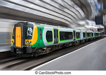 Modern Passenger Commuter Transport Train Side with Motion Blur