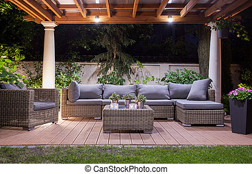 Modern patio at night - Horizontal view of modern patio at...