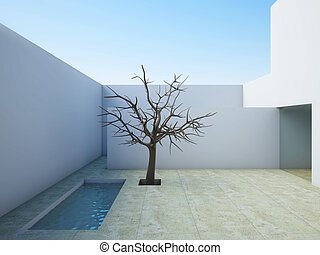 Modern patio. - A 3D illustration of the modern patio with...