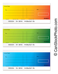 Modern payment cheque - Brightly colored check payment with...