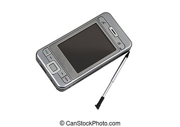 Modern PDA with cell phone included and stylus isolated on...