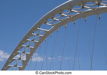 Modern pedestrian bridge - a side view.