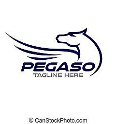 Modern pegasus logo. Vector illustration.
