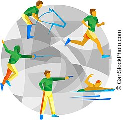 Modern Pentathlon with abstract patterns on gray mosaic...