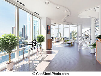 Modern penthouse with beautiful view over the city