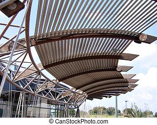 Modern design pergola arbor made of metal and wood
