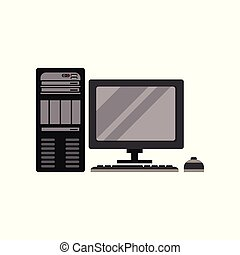 Modern personal computer vector Illustration on a white background