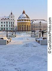 Modern Peterburgskaya street in the center of Kazan, Russia