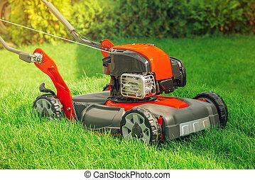 Modern petrol powered rotary push grass lawn mower