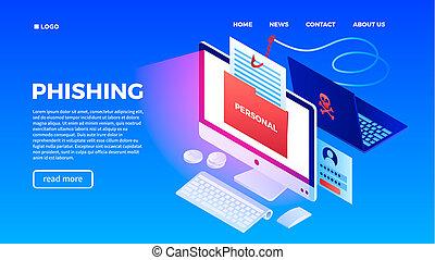 Modern phishing concept background, isometric style