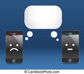 Modern phones with speech cloud. Conversation