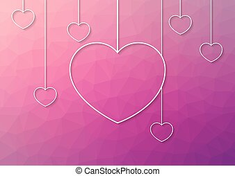 Modern pink abstract background with white hang hearts from ...