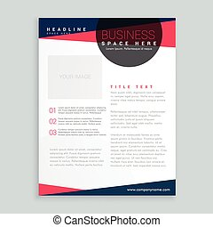 modern pink and blue business flyer brochure design template in geometric style