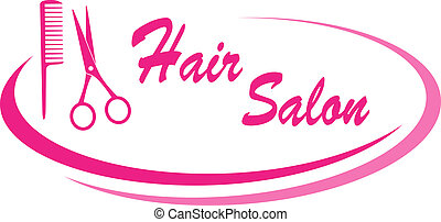 hair salon sign with design element - modern pink hair salon...