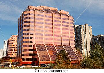 Modern pink high-rise.