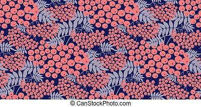 Modern pink rowanberry seamless pattern for autumn design...