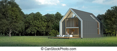 3D rendering of a bright modern pitched roof villa in the countryside