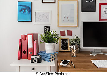 Modern place for study in designed room
