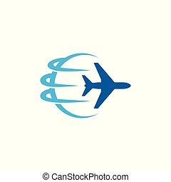 Modern Plane Traveling Cargo Freight Icon Logo