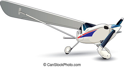 Vectorial image of modern sporting airplane isolated on white background. Contains gradients and blends.