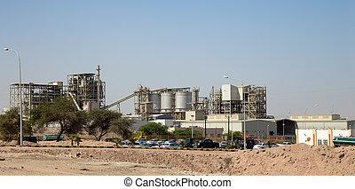 Modern plant in the desert, Jordan,  Middle East