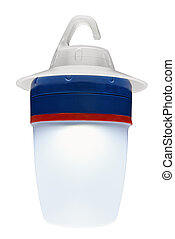 Modern plastic camping light illuminated and isolated