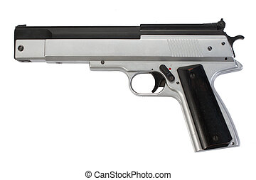 modern pneumatic gun on white background