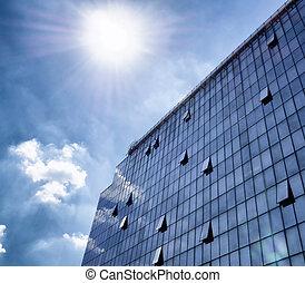 modern, pohár, és, acél, -, ügy, épület, noha, meglepő, ég, alatt, háttér
