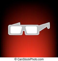modern, pohár, cégtábla., levélbélyeg, vagy, öreg, fénykép, mód, képben látható, red-black, gradiens, háttér.