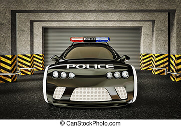 car - modern police car with a red and blue siren
