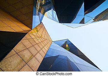 Modern polygon design building facade