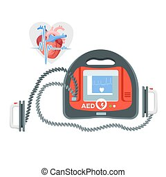 Modern portable defibrillator with small screen and heart...