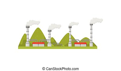 Modern power station with smoking pipes. Energy production industry. Electricity generation theme. Flat vector design