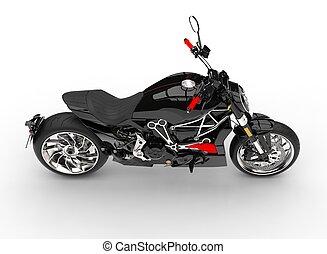 Modern powerful black motorcycle - top down view