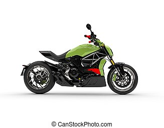 Modern powerful green motorcycle - side view