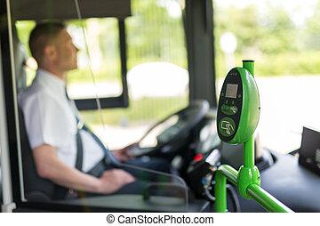 Modern prepayed public transport ticketing system validaton machine.