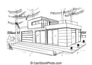 Modern private residential house. Hand drawn, contour, black and white sketch illustration.