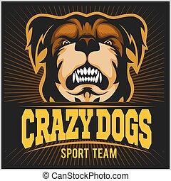 Modern professional logo for sport team. Bulldog mascot. Crazy Dog, vector symbol on a dark background.