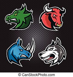 Modern professional logo set with wild animal for a sport team