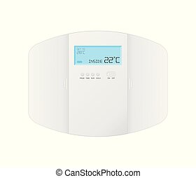 modern programmable thermostat on white background